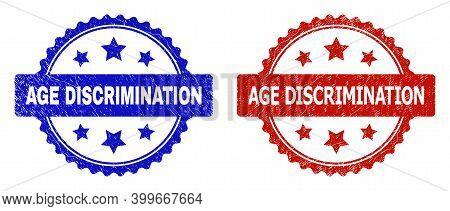 Rosette Age Discrimination Seal Stamps. Flat Vector Textured Seal Stamps With Age Discrimination Cap