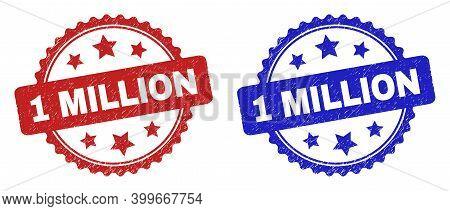 Rosette 1 Million Seal Stamps. Flat Vector Distress Seal Stamps With 1 Million Message Inside Rosett