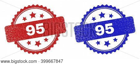 Rosette 95 Seal Stamps. Flat Vector Distress Seal Stamps With 95 Message Inside Rosette With Stars,