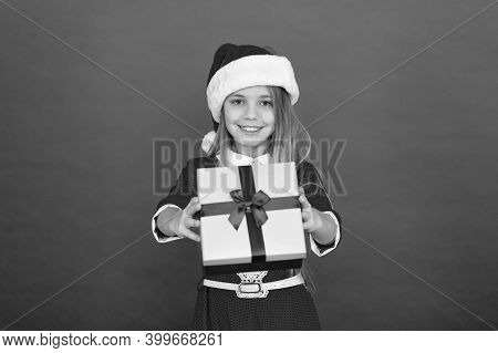Present For You. Happy Child Give Present Box. Little Girl Smile With Xmas Present. Wrapped Gift. Sa