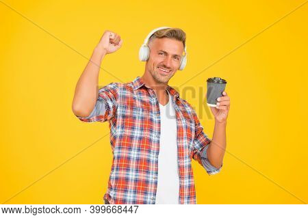 Caffeine Gives Him Energy. Happy Man Make Power Gesture Holding Coffee Cup. Caffeine Addicted. Natur