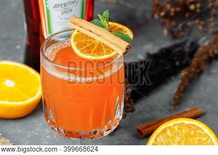 Warming Winter Cocktail With Aperol. Hot Aperol. Cocktail For New Years And Christmas. Christmas Win
