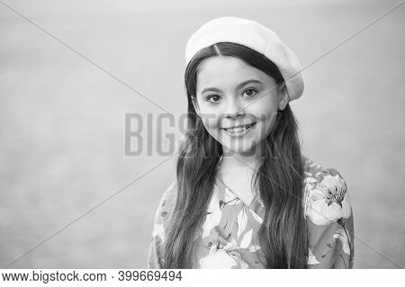 Be Your Own Kind Of Beautiful. Fashion Look Of Girl Child. Little Fashion Model Grey Background. Sma