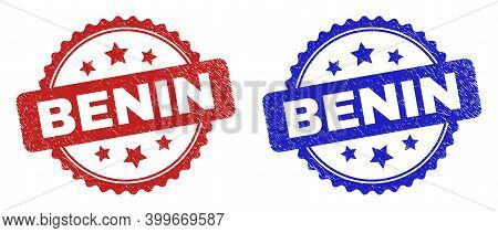 Rosette Benin Seal Stamps. Flat Vector Scratched Stamps With Benin Caption Inside Rosette With Stars