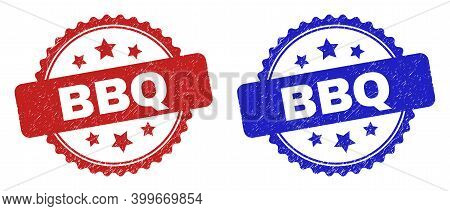 Rosette Bbq Seal Stamps. Flat Vector Grunge Seal Stamps With Bbq Title Inside Rosette Shape With Sta