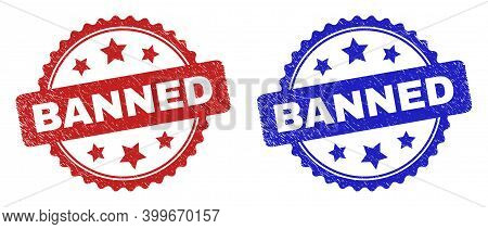 Rosette Banned Seals. Flat Vector Distress Seals With Banned Message Inside Rosette Shape With Stars