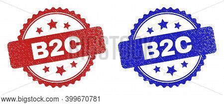 Rosette B2c Watermarks. Flat Vector Scratched Watermarks With B2c Caption Inside Rosette With Stars,