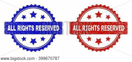 Rosette All Rights Reserved Seal Stamps. Flat Vector Grunge Seal Stamps With All Rights Reserved Mes