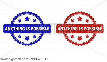 Rosette Anything Is Possible Seal Stamps. Flat Vector Grunge Seal Stamps With Anything Is Possible P
