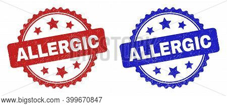 Rosette Allergic Watermarks. Flat Vector Grunge Watermarks With Allergic Text Inside Rosette Shape W