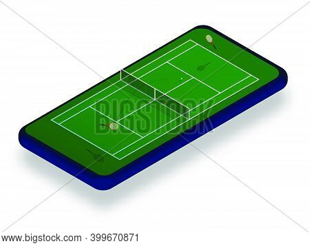 Sports Tennis Court With Rackets And Ball On Smartphone Screen. Online Games, Modern Technologies In