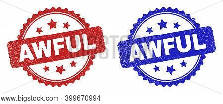 Rosette Awful Seal Stamps. Flat Vector Grunge Seal Stamps With Awful Title Inside Rosette With Stars