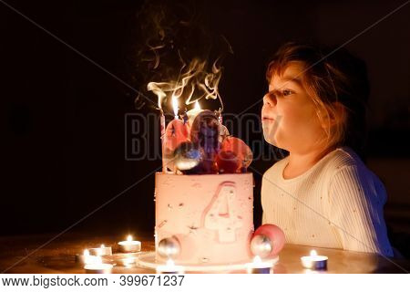 Adorable Little Toddler Girl Celebrating Fourth Birthday. Cute Toddler Child With Homemade Princess