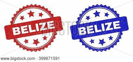 Rosette Belize Watermarks. Flat Vector Scratched Watermarks With Belize Title Inside Rosette With St