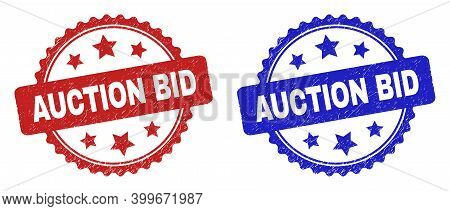 Rosette Auction Bid Stamps. Flat Vector Distress Stamps With Auction Bid Phrase Inside Rosette Shape