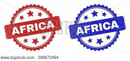 Rosette Africa Stamps. Flat Vector Grunge Seal Stamps With Africa Caption Inside Rosette Shape With