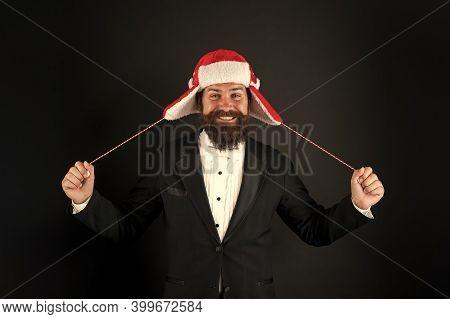 Dear Santa I Tried My Best. Santa Businessman Dark Background. Happy Hipster With Santa Look. Holida