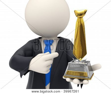 3D Business Man Awarded With Gold Tie Trophy