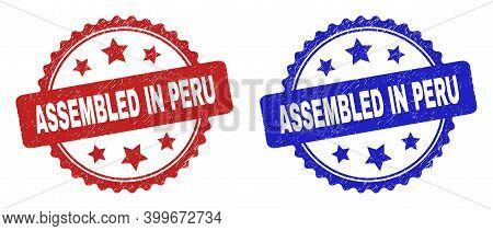Rosette Assembled In Peru Watermarks. Flat Vector Distress Watermarks With Assembled In Peru Caption