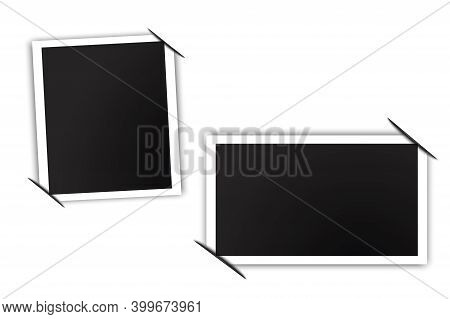 Modern 3d Design Template With Two Photos. Photo Frame With Tucked Corners. Christmas Background. St