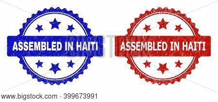 Rosette Assembled In Haiti Seal Stamps. Flat Vector Grunge Stamps With Assembled In Haiti Text Insid
