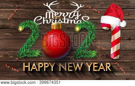 2021 Christmas And New Year Poster Design On Wooden Background With Santa Claus Hat And Christmas Ba