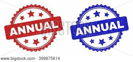 Rosette Annual Seal Stamps. Flat Vector Grunge Seal Stamps With Annual Text Inside Rosette With Star