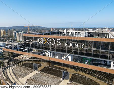 Aerial View Of Axos Office Building In University City Large Residential And Commercial District, Sa