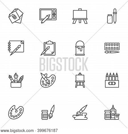 Drawing Tools Line Icons Set, Outline Vector Symbol Collection, Linear Style Pictogram Pack. Signs,