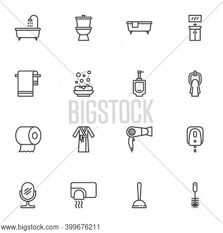 Bathroom And Toilet Line Icons Set, Outline Vector Symbol Collection, Linear Style Pictogram Pack. S