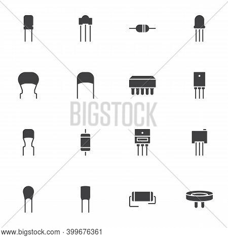 Capacitor Vector Icons Set, Modern Solid Symbol Collection, Filled Style Pictogram Pack. Signs Logo