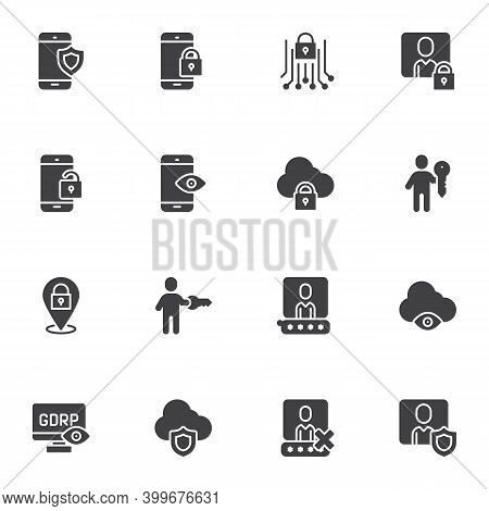Gdpr Privacy Vector Icons Set, Modern Solid Symbol Collection, Filled Style Pictogram Pack. Signs, L