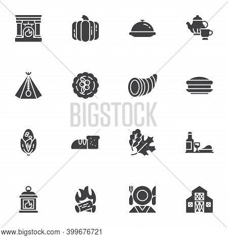Thanksgiving Day Holiday Vector Icons Set, Modern Solid Symbol Collection, Filled Style Pictogram Pa