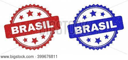 Rosette Brasil Watermarks. Flat Vector Scratched Watermarks With Brasil Phrase Inside Rosette Shape