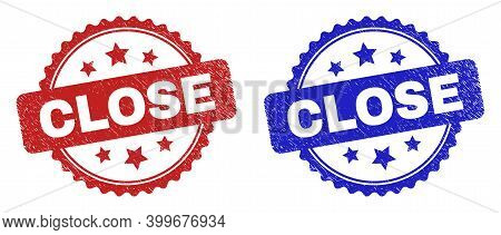Rosette Close Seal Stamps. Flat Vector Distress Seal Stamps With Close Message Inside Rosette Shape