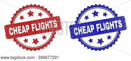 Rosette Cheap Flights Seal Stamps. Flat Vector Distress Seal Stamps With Cheap Flights Text Inside R