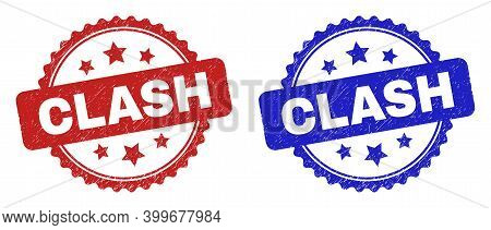 Rosette Clash Stamps. Flat Vector Scratched Seal Stamps With Clash Title Inside Rosette Shape With S