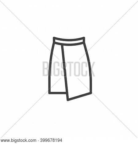 Wrap Skirt Line Icon. Linear Style Sign For Mobile Concept And Web Design. Skirt Front View Outline