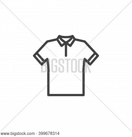 Polo Shirt Line Icon. Linear Style Sign For Mobile Concept And Web Design. Polo T-shirt Outline Vect
