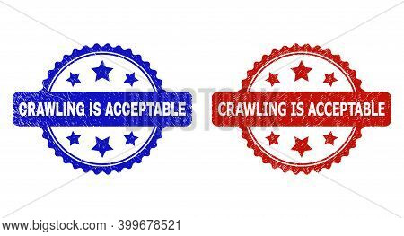 Rosette Crawling Is Acceptable Seal Stamps. Flat Vector Distress Seal Stamps With Crawling Is Accept