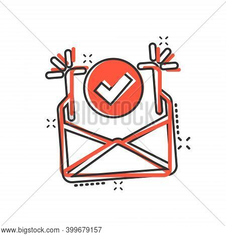 Envelope With Confirmed Document Icon In Comic Style. Verify Cartoon Vector Illustration On White Is