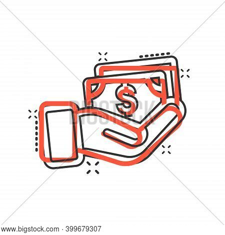 Remuneration Icon In Comic Style. Money In Hand Cartoon Vector Illustration On White Isolated Backgr