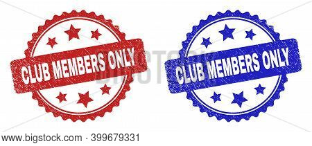 Rosette Club Members Only Seal Stamps. Flat Vector Grunge Seal Stamps With Club Members Only Message