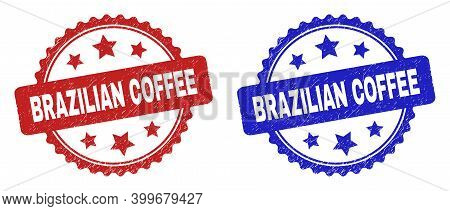 Rosette Brazilian Coffee Seal Stamps. Flat Vector Textured Seal Stamps With Brazilian Coffee Phrase