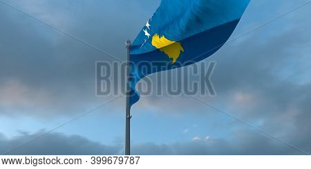 3d Rendering Of The National Flag Of The Kosovo