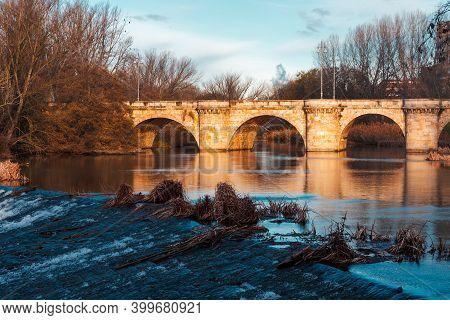 Ashlar Stone Medieval Bridge, Puente Mayor, Crossing Rio Carrion, In Autumn