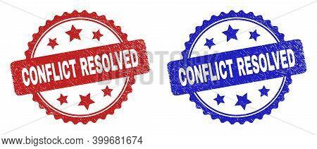 Rosette Conflict Resolved Stamps. Flat Vector Scratched Seal Stamps With Conflict Resolved Caption I