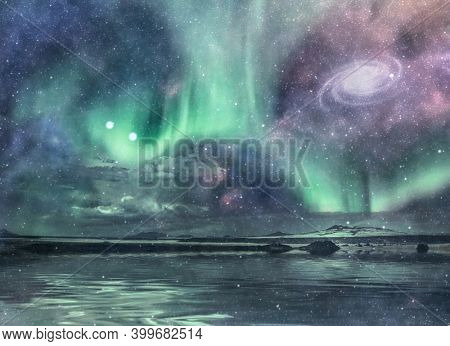 Spectacular shore and nebula. 3d rendering