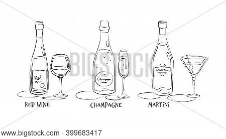 Red Wine, Champagne, Martini. Bottle And Glass In Hand Drawn Style. Restaurant Illustration For Cele