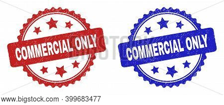 Rosette Commercial Only Stamps. Flat Vector Grunge Stamps With Commercial Only Text Inside Rosette S